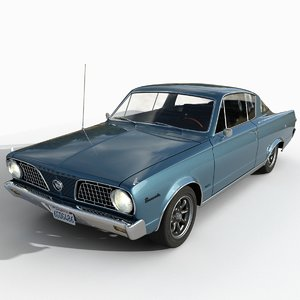 3D plymouth barracuda 1966 model