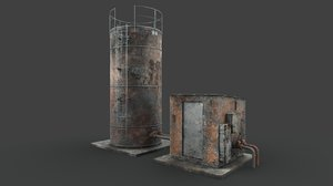3D model rusted industrial