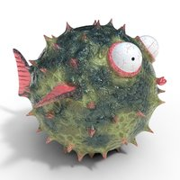 3D blowfish cartoon pufferfish