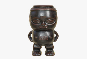 wooden cup kuba tribe 3D