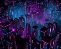 neon city buildings 3D model