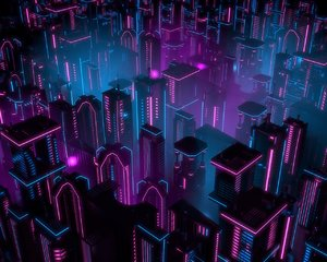 neon city buildings 3D model