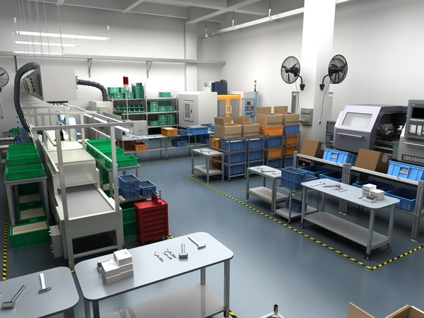 3D factory interior scene equipment model