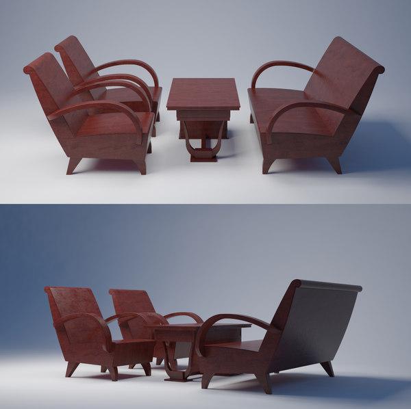 3D wood sofa vietnamese model