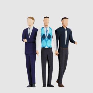 3D business men model