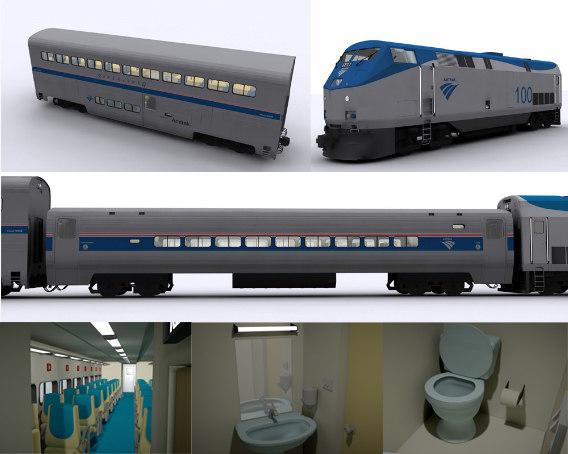3d model of amtrak locomotive carriages