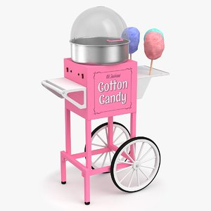 3D model cotton candy cart