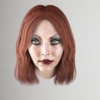 female hairstyle brunette 3D model