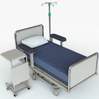 3D hospital patient bed set model