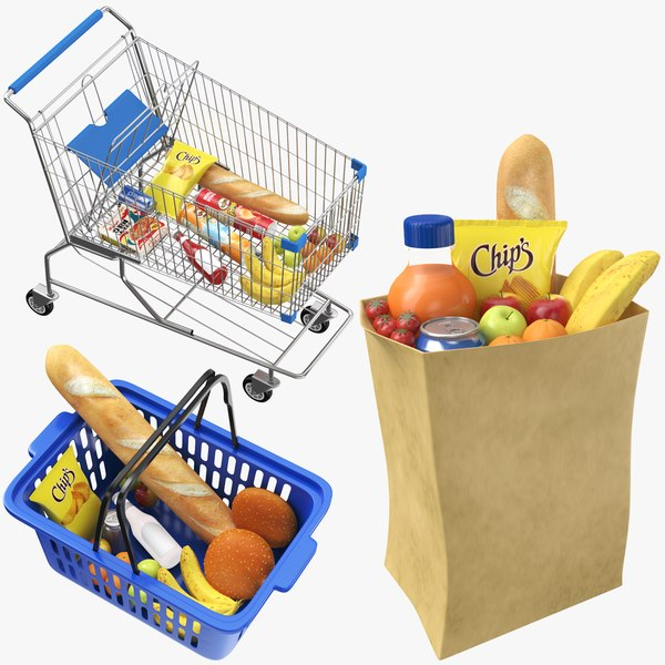 real shopping carts bag 3D