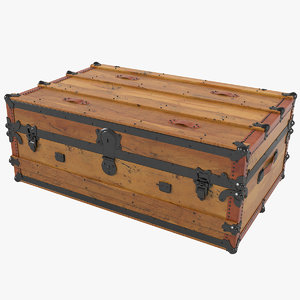 american wooden cabin trunk 3D model
