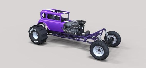 dragster mud drag 3D model
