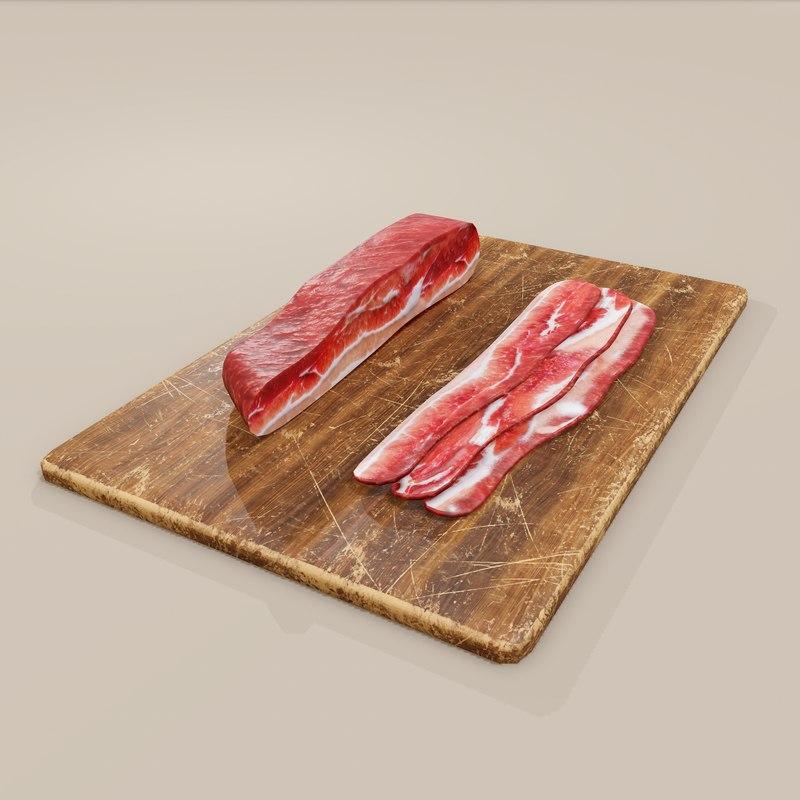 Bacon Cutting Board 3D Model