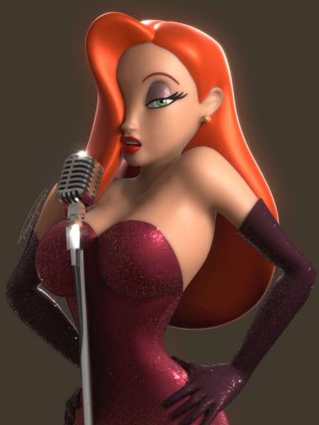 3D jessica rabbit character rig model