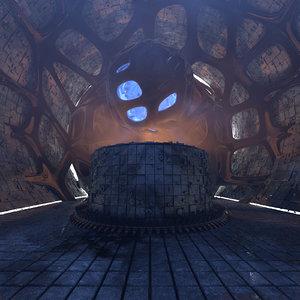 3D model concepts majestic scifi structure