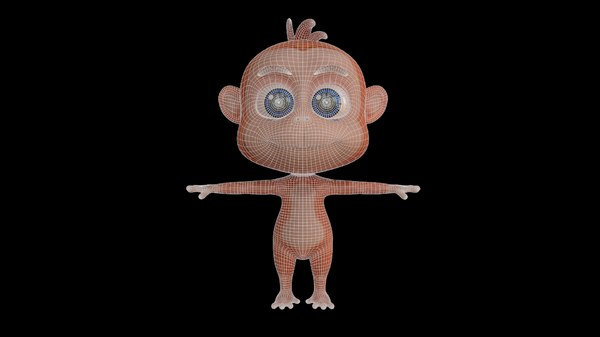 3D animal monkey rig cartoons model