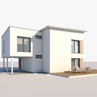3D model contemporary house