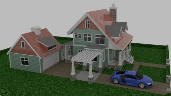 3D craftsman style house model