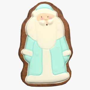 3D gingerbread santa cookie