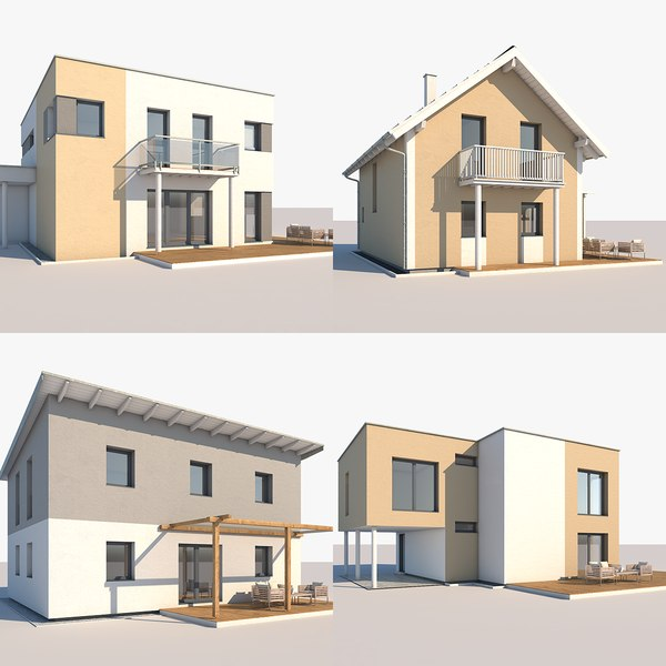 3D contemporary houses model