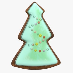 christmas tree gingerbread cookie 3D model