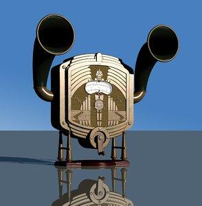 3D model steampunk machine 4 radio