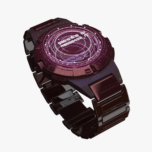 3D sci fi hologram watch model