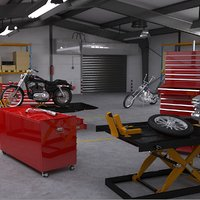 3D motorcycle service interior