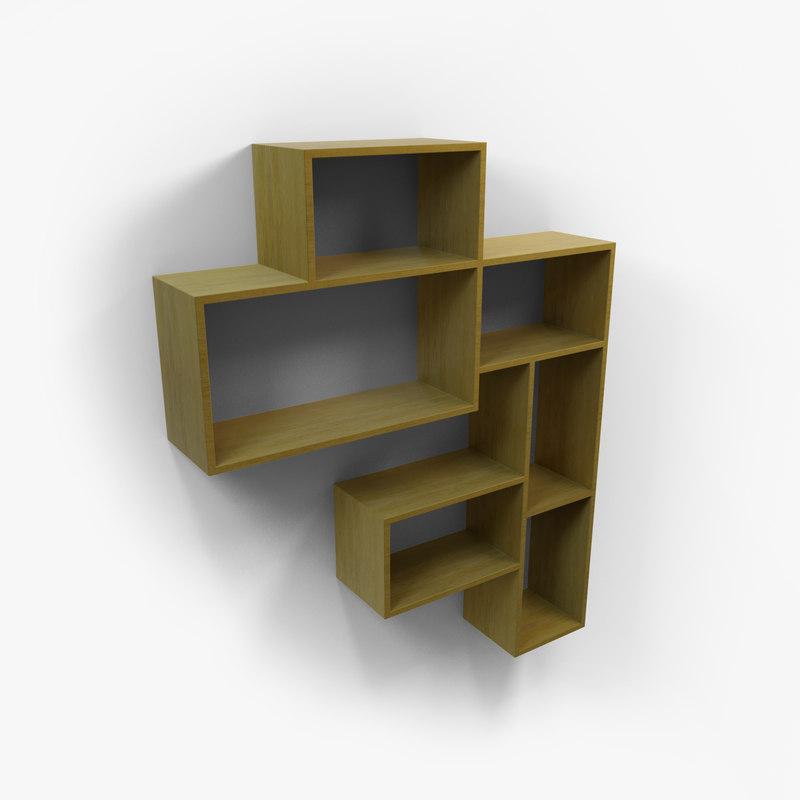 3D designer furniture wall shelf