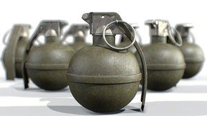 3D american hand grenade frag