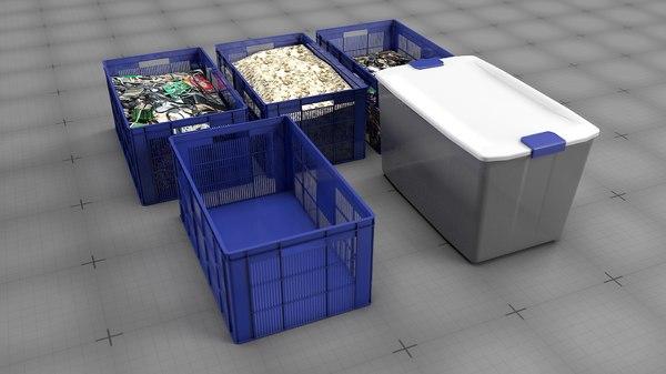 3D crates boxes