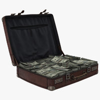 3D old suitcase cash model