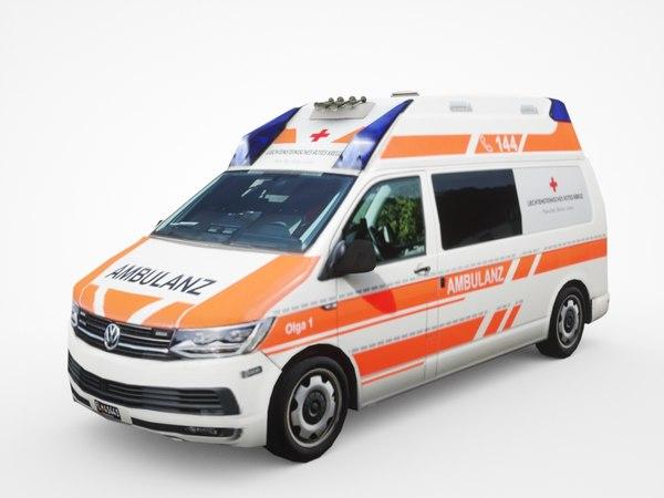 3D volkswagen transporter t6 ambulance