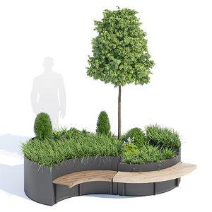 flo planter bench 3D model