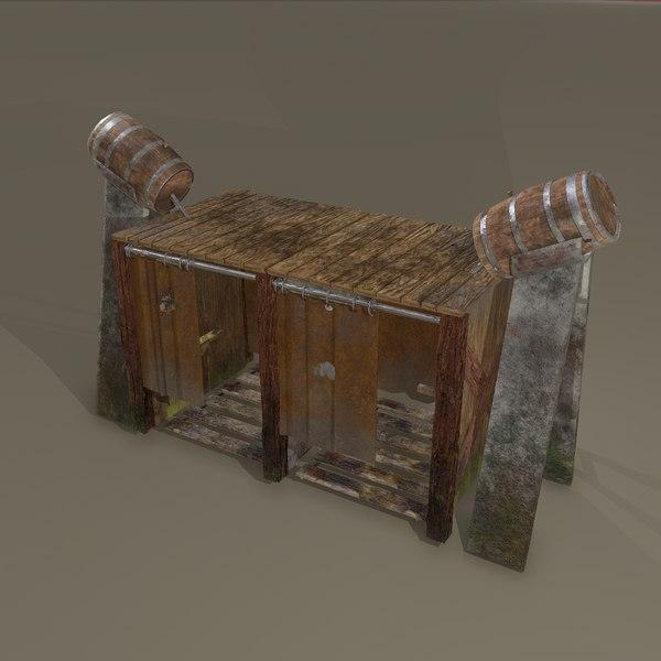 3D medieval shower outdoors model