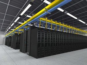 3D computer server room model
