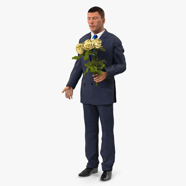 man yellow roses 3D model
