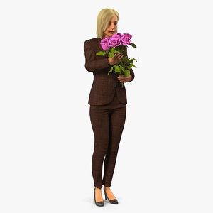 3D lady woman pink roses model