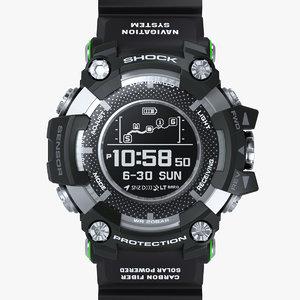 3D sports watch resistant black model