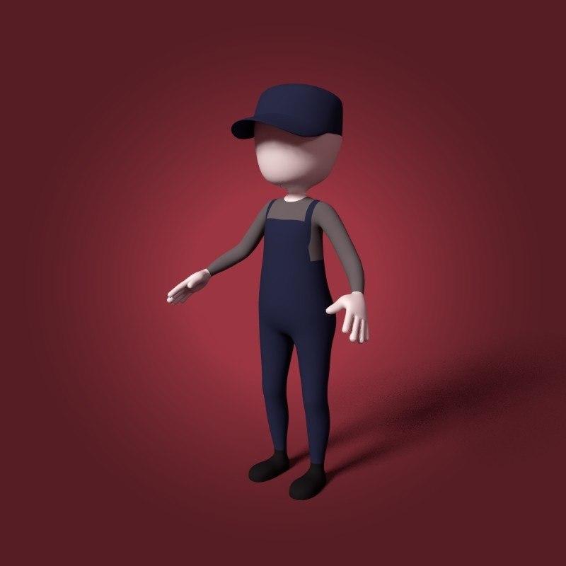 cartoon plumber 3D model