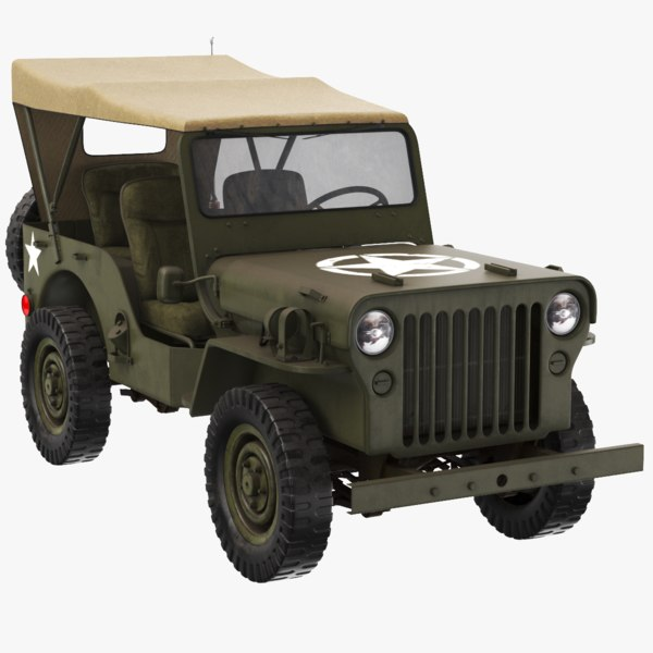 real willys army jeep 3D