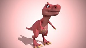 dino cartoon red 3D model