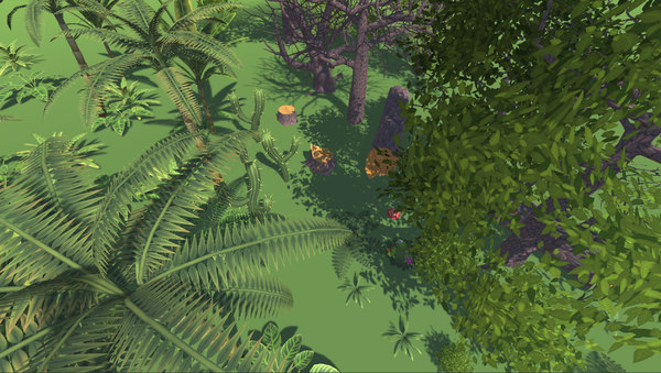 vegetation handpainted trees bushes 3D model