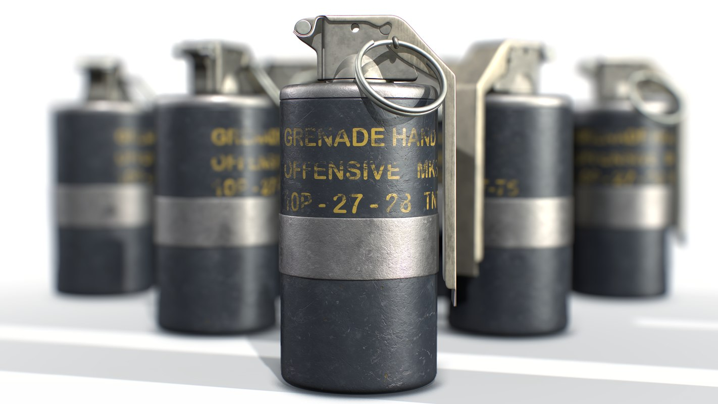 3D american hand grenade frag model