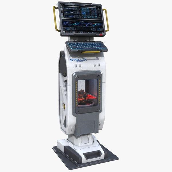3D sci-fi analyzer console model