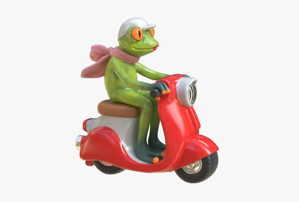 figurine frog scooter model