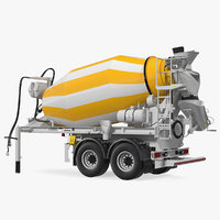 semi trailer mixer liebherr 3D model