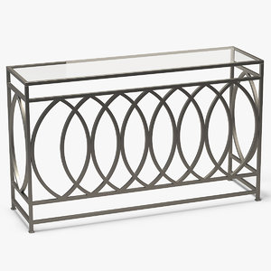 3D rectangle console table metal