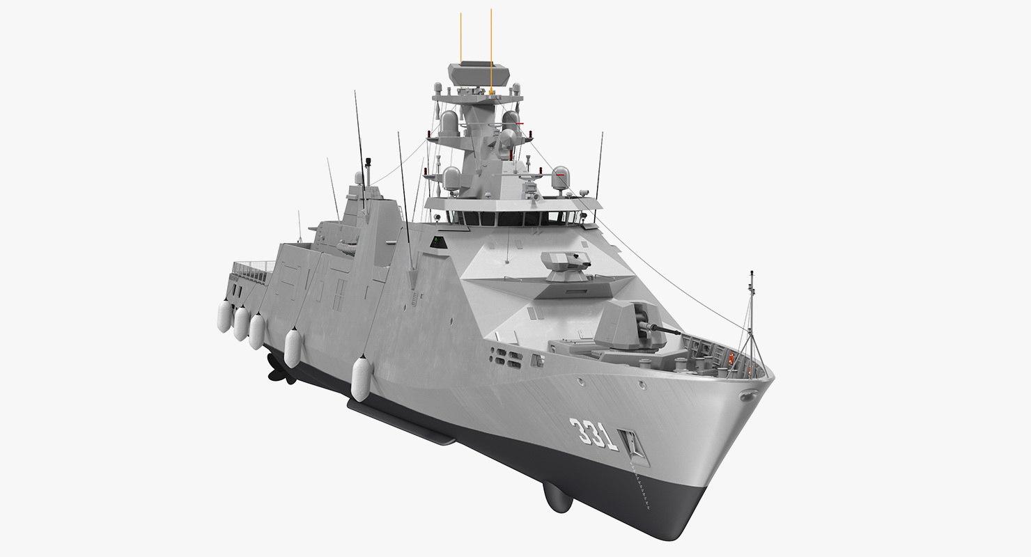 sigma class indonesian frigate 3D model