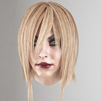 Female hair lowpoly 3 colors(1)